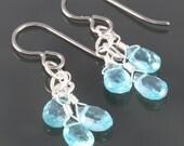 Blue Apatite Three Stone Earrings - Titanium Ear Wires - f16e121