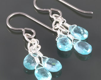 Blue Apatite Three Stone Earrings - Titanium Ear Wires - f16e121
