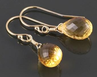 Golden Citrine Earrings. Gold Filled Ear Wires. Genuine Citrine. November Birthstone. Faceted Teardrop Earrings. s17e038