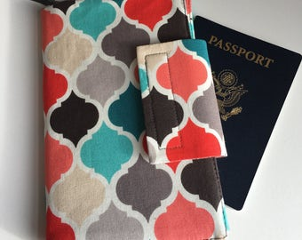 Passport Organizer, Travel wallet, Smart phone wallet , Geometric gray Quatrefoil wallet, Boarding Pass holder