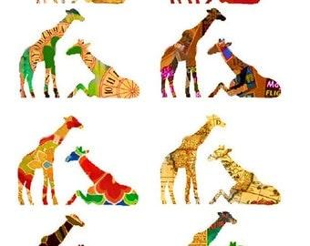 Altered Giraffes - Digital Collage Sheet - Instant Download