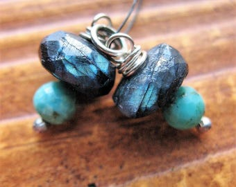 Blue Labradorite and Turquoise Bead Charms - 1 pair - 20mm in length