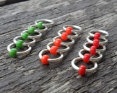 Choose Size Dangle Free Knitting Stitch Markers Silver Wire Traffic Lights Opaque or Translucent Seed Beads Set of 15 Snag Free