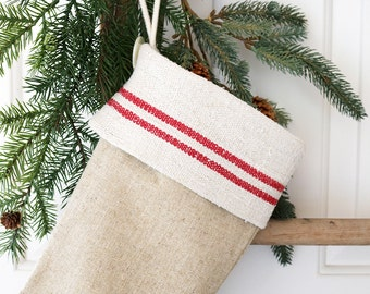 Rustic Linen Christmas Stocking, Grain Sack Holiday Decor, Handmade Holiday