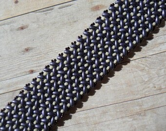 Bracelet: Purple and Cream Herringbone Stitch; SuperDuos & Seed Beads