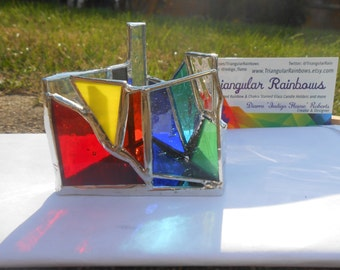 Mini #7 Triangle Shaped Stained Glass Candle Holder Chakra Theme rainbow