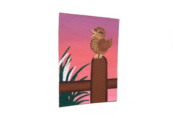 Morning Songbird original ACEO - small acrylic painting of a song thrush bird, singing against a pink and purple dawn sky