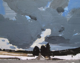Gateway, Original Winter Landscape Collage Painting on Panel, Stooshinoff