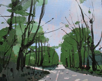 May Entrance, Original Spring Landscape Painting on Paper, Stooshinoff