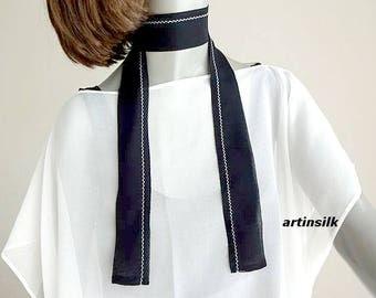 Black Silk Sash Skinny Scarf, Thin Black Silk Belt, Thin Long Scarf, Hat Band, Black Long Tie, Black Waist Tie, 3 sizes, Artinsilk.