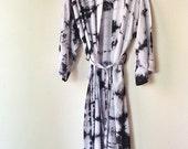 GIVEBACKSALE Hand Dyed Moonstone Kimono Robe, Black and White Tie Dyed Rayon Bathrobe, Anna Joyce, Portland, OR.