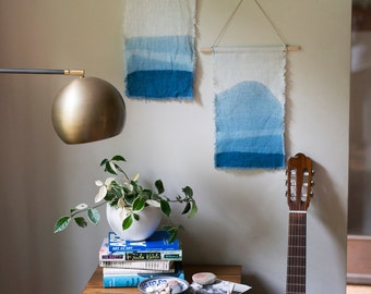 READY TO SHIP Small Hand Dyed Linen and Indigo Wall Hangings Anna Joyce, Hand Dyed