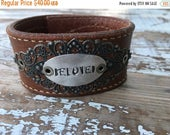 40% OFF- Stamped Leather Cuff-Beloved-Word Cuff-Loved Collection