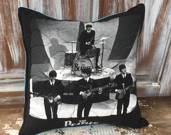 40% OFF- Beatles Throw Pillow-Rock n Roll-Upcycled Eco Friendly-Quilted-