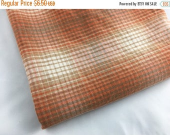 40% OFF- Muted Plaid Fabric-Reclaimed Bed Linens-Cabin Look-Coral and Tan