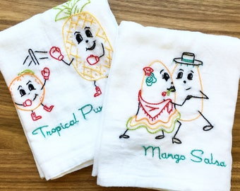 So Fruity Hand Embroidered Dish Towels