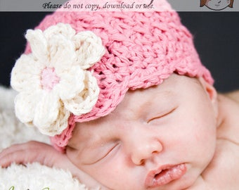 Rose Pink Beanie with Flowers, Baby Hat with Flowers, Infant Beanie, Shell Beanie with Flowers, Baby Girls Hat, Rose Pink Hat, Baby Hat