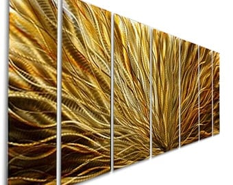 Extra Large Contemporary Wall Sculpture in Gold & Amber, Modern Metal Wall Art, Abstract Wall Painting - Amber Plumage XL by Jon Allen