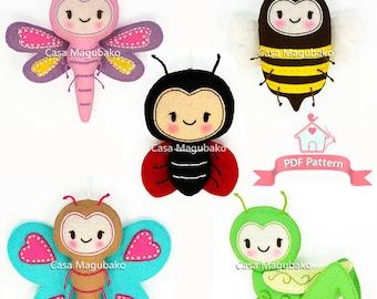 PDF Felt Pattern - Bug Collection Felt Sewing Pattern: Ladybug, Dragonfly, Bee, Butterfly & Grasshopper Ornaments - Felt Bugs + Flower