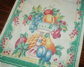 Vintage Tea Towel Table Runner Fruit Bowls Jade Green  13 x 29 inches