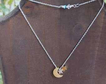 To the Moon and Back necklace || brass, silver & Swarovski