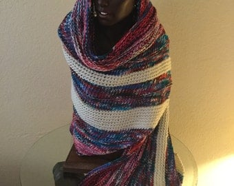 Huge Gorgeous Hand Knitted Winter Shawl made with Handdyed Kona Superwash Merino Heavy Weight Extra Long /Wide