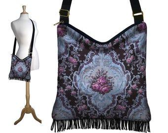 unique fabric handbag cross body boho hobo bag purse hippie fringe shoulder bag victorian shabby cottage floral french roses blue violet MTO