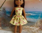 """SALE Yellow with Pink and White Floral Strapless Dress Fits 14.5"""" Dolls Like Wellie Wishers and H4H"""