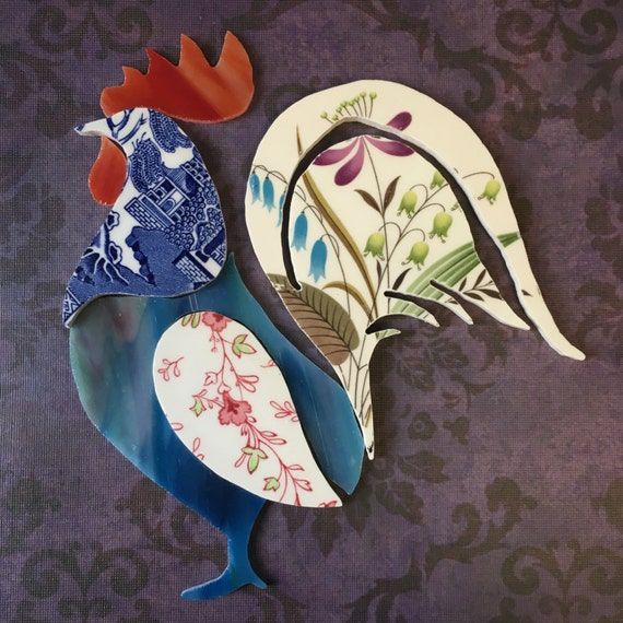 Recycled China Art - Plate and Stained Glass Rooster