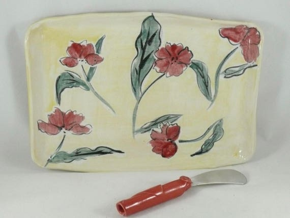 Ceramic Art Plate in Poppy Flower Design , Sushi Dish, Tapas Platter, Pottery Tray, Artistic decorative wall hanging, Ceramic Art Vessel
