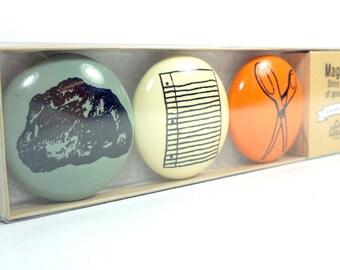magnet set for rock, paper, scissors. (3pk)