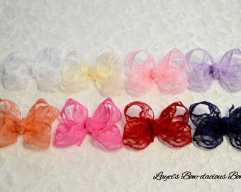 Lace Hair Bow - Choose your color - lace baby bow - no slip baby bows - toddler bows - no slip alligator clip - baby bows - lace bows