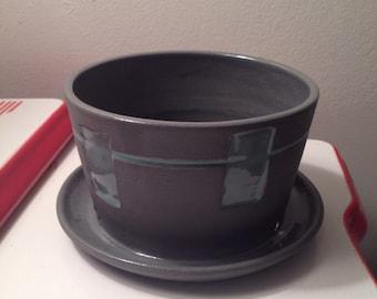 Modern Gray Porcelain Planter