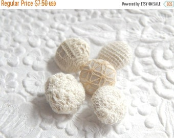 CLEARANCE 5 ivory fabric  buttons - 5/8 inches