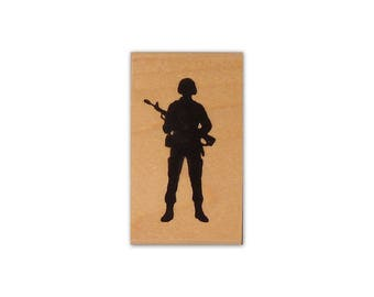 Soldier Silhouette mounted rubber stamp, military, army, troops, Sweet Grass Stamps No.14