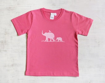 Toddler T Shirt- Organic Cotton T Shirt- Childrens Graphic Tee Shirt- Elephant Shirt- Pink T Shirt- Organic Cotton Clothing