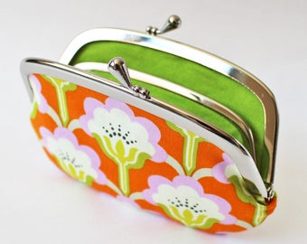 Coin purse wallet - orange flowers kiss lock frame purse change purse lime green floral leaf green pink orange spring purse