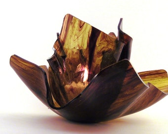 Vase Candle Set - Burgundy Streaky on Amber Vase & Dish with Free Spring Rain Soy, Paraffin Wax Blend, Paper Core, Self-trimming Wick Candle