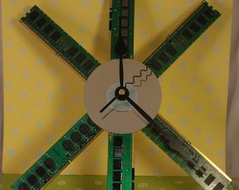 """Computer Memory Wall Clock 13"""" x 10"""""""