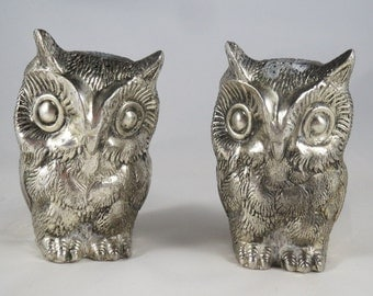 Vintage Silver Plate Owls Salt and Pepper Shakers Set of 2