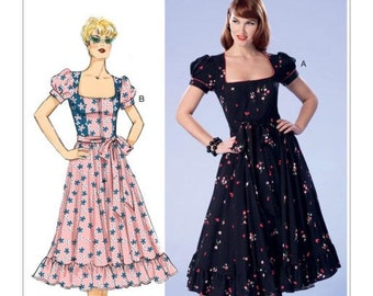 Butterick BP287 or B6352 Retro Dress Square-Neck Sewing Pattern Misses Sz 6-14