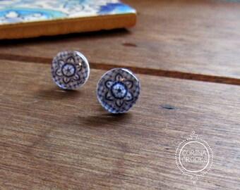 Blue Talavera tile, Mexican jewelry, Mexican earrings, Stud earrings, Post Earrings, Southwestern earrings, flower earrings, ethnic posts