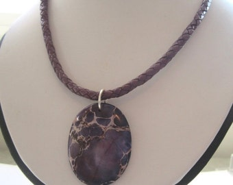 40% SALE Purple Jasper Pendant.  Braided Purple Leather Cord. 18 Inches.  Banyonet Fastener. Under 25.