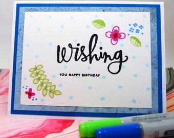 "Card - ""Wishing You Happy Birthday"" - Blue on White"