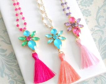 Coral Aqua Pink Pearl Tassel Necklace