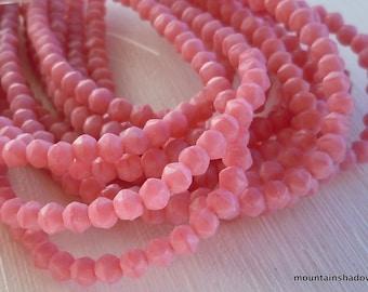 3mm English Cut Beads - Matte - Coral Pink - Czech Glass 50 pcs (SP- 68)