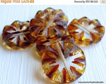 25% OFF SALE Czech Glass Beads - 14mm Coin Crystal Picasso (G- 562)
