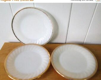 NEW ROOF SALE 3 vintage Fire King milk glass swirl salad dessert plates