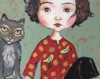 Dark Eyed Girl with photobombing Cat
