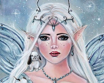 Elf fairy white blossom flowers bunny art fantasy print by Renee L. Lavoie